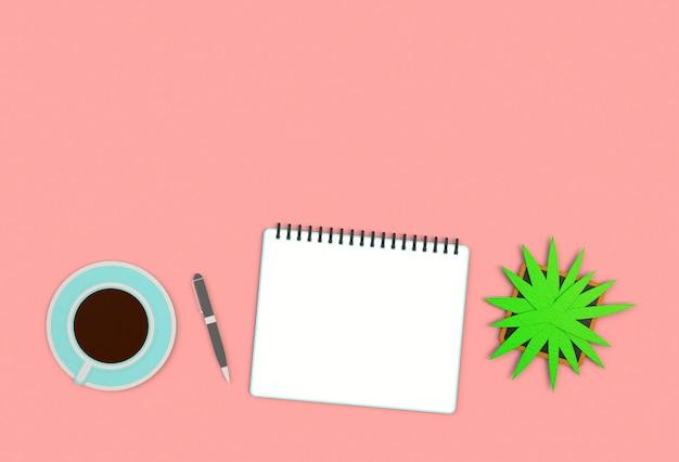 Imagem da vista superior do caderno aberto com as páginas vazias ao lado da xícara de café na tabela vermelha.