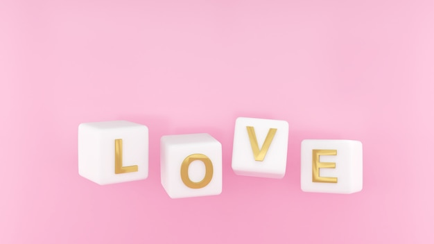 Imagem de amor em dados a letra lovelove e renderização em 3d do dia dos namorados