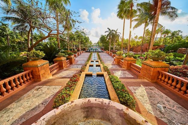 Imagem de belos jardins trópicos com palmeiras e camadas de água