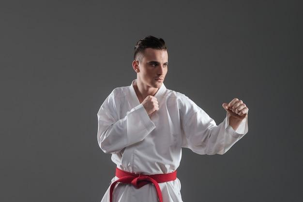 Imagem de bonito desportista na prática de quimono no karatê isolado sobre fundo cinza. olhe para o lado.