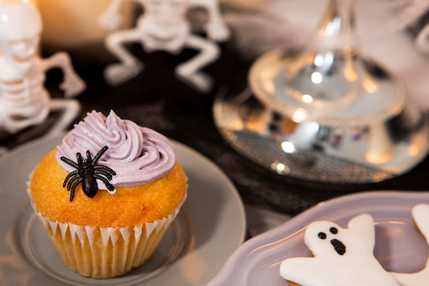 Imagem de close-up de deliciosos cupcakes de halloween