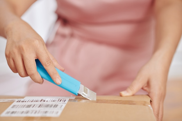 Imagem de close-up de uma mulher usando uma faca de papel ao abrir a caixa de papelão que recebeu no correio