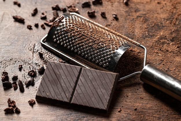 Imagem de close-up do conceito de barra de chocolate