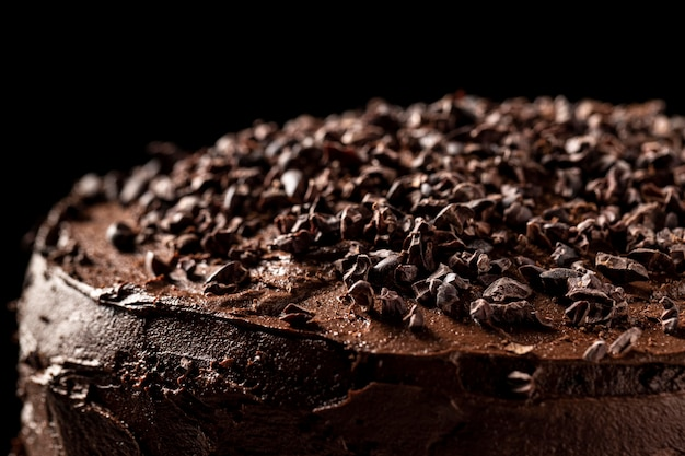 Imagem de close-up do conceito de bolo de chocolate