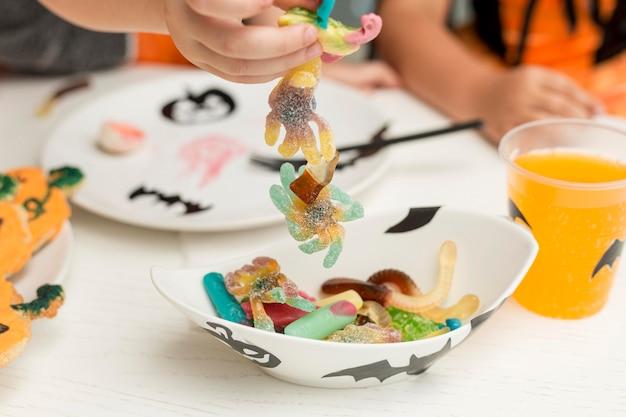 Imagem de close-up do conceito de doces de halloween