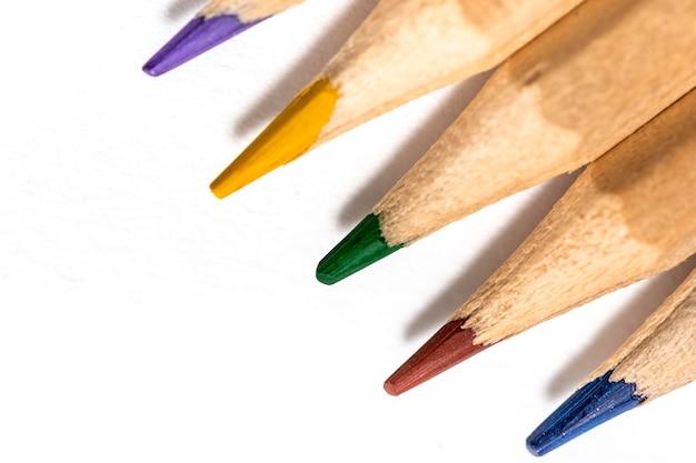 Imagem de close-up do conceito de lápis coloridos