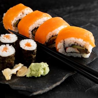 Imagem de close-up do delicioso conceito de sushi