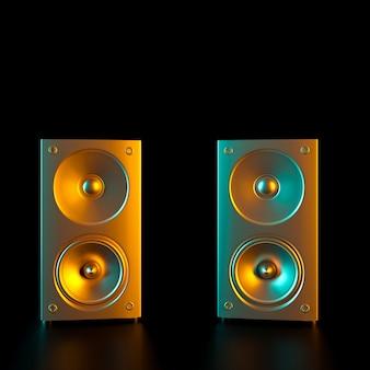 Imagem de dois alto-falantes dourados.