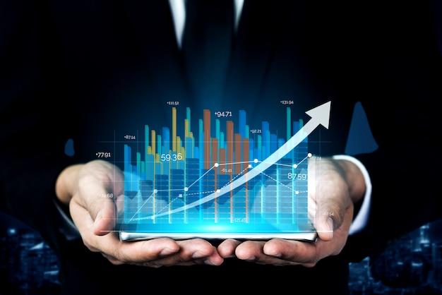 Imagem de dupla exposição do crescimento do lucro comercial
