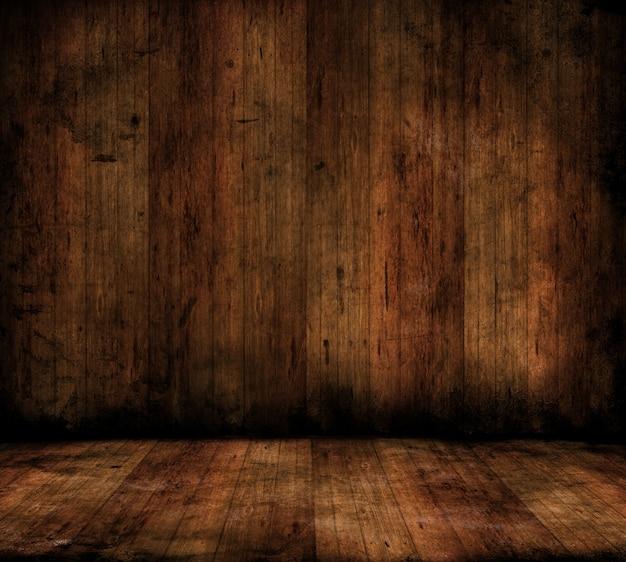 Imagem de estilo grunge de um interior de sala com pisos e paredes de madeira