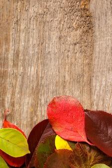 Imagem de folhas de outono sobre o plano de fundo texturizado de madeira