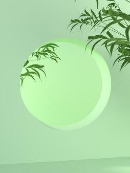 Imagem de fundo para colocação de produtos há uma grande parede circular geométrica que parece simples e natural. existe uma planta de bambu como elemento abstrato. cena 3d.