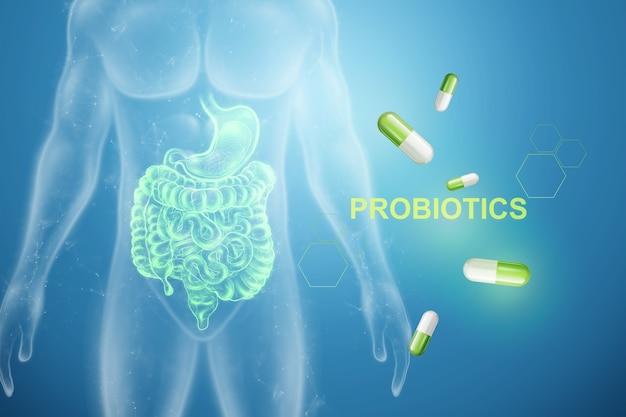 Imagem de intestinos e comprimidos, probióticos de inscrição.