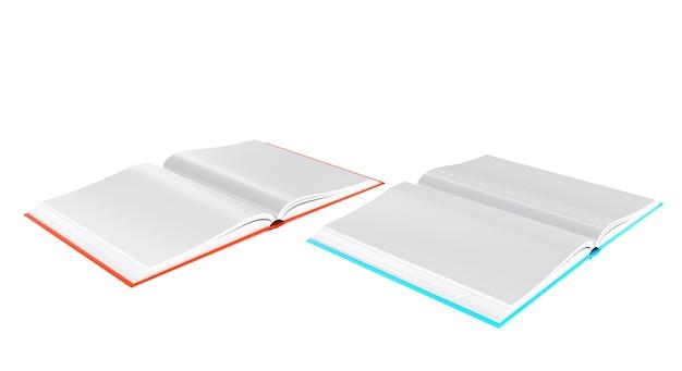 Imagem de livro aberto de renderização 3d isolada de fundo branco
