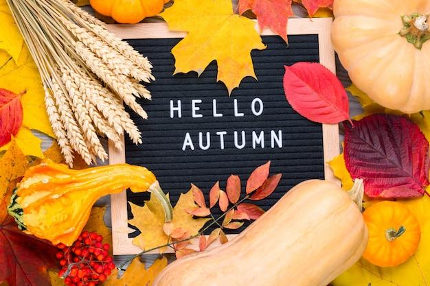Imagem de outono ainda vida com centeio, abóboras, folhagem colorida e quadro de letras com palavras olá outono