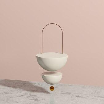 Imagem de renderização 3d branca flutuante pódio com fundo rosa anúncio de exibição de produto