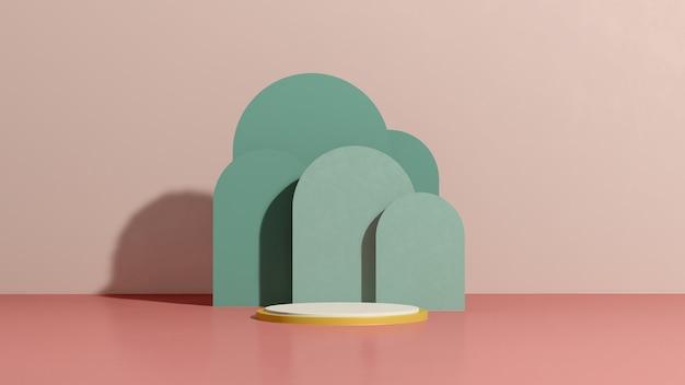 Imagem de renderização 3d branco pódio com fundo rosa verde anúncio de exibição de produto