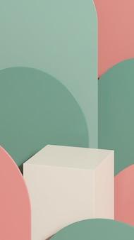 Imagem de renderização 3d branco pódio com fundo rosa verde exibição de produto