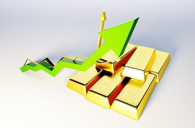 Imagem de renderização 3d de barras douradas com gráfico crescente