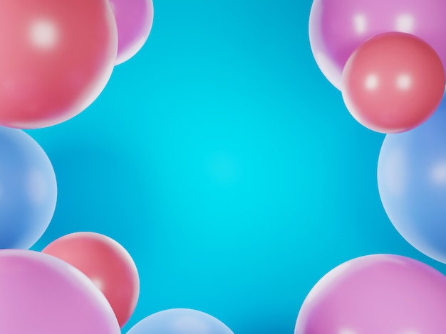 Imagem de renderização 3d de bola colorida