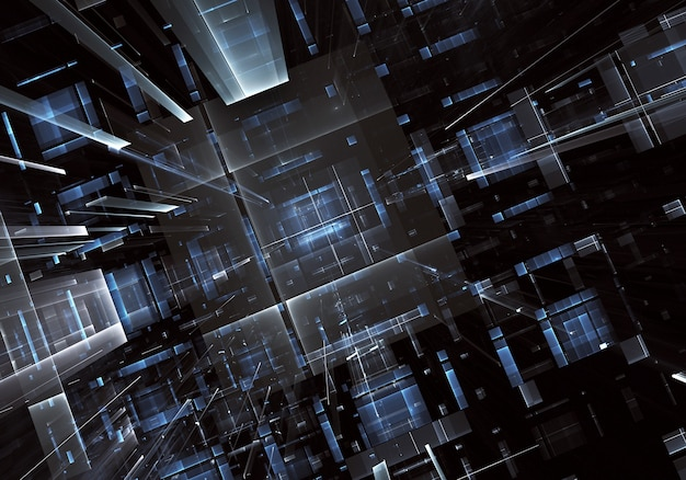 Imagem de tecnologia abstrata gerada por computador. fractal 3d tridimensional, textura