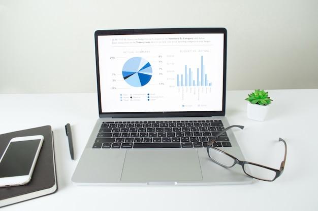 Imagem de tela do laptop mostrando análise gráfica financeira, tela de mesa de escritório com vários equipamentos de empresários
