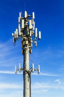 Imagem de torre de comunicações da antena de internet móvel de comunicação