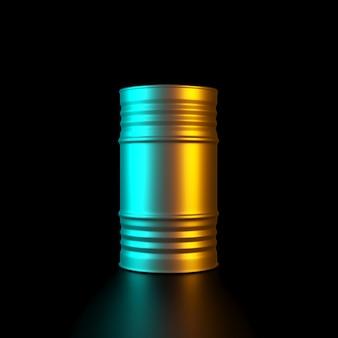 Imagem de um barril de metal dourado com luzes laterais coloridas