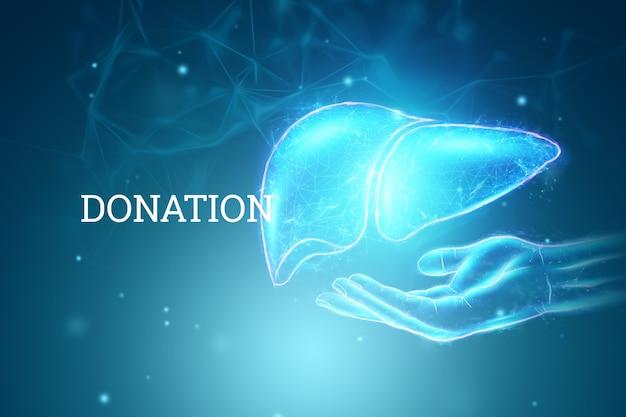 Imagem de um holograma de uma mão estendida e fígado. conceito de negócio de tratamento de hepatite humana, doação, prevenção de doenças, diagnóstico online. renderização 3d, ilustração 3d.