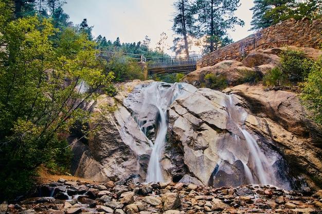 Imagem de uma grande cachoeira sobre rochas com ponte pedonal