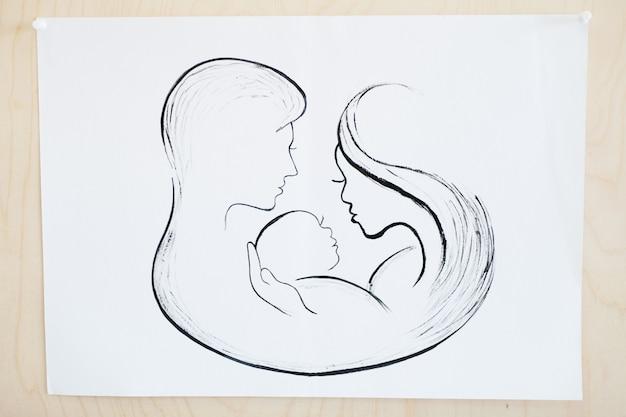 Imagem de uma jovem família desenhada a lápis.