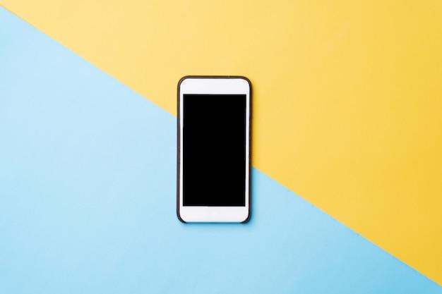 Imagem de vista superior do celular de tela em branco