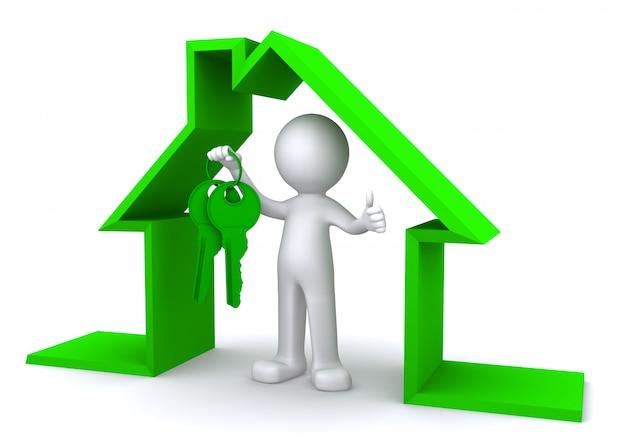 Imagem do conceito de um personagem segurando uma chave de casa dentro do modelo de casa em miniatura
