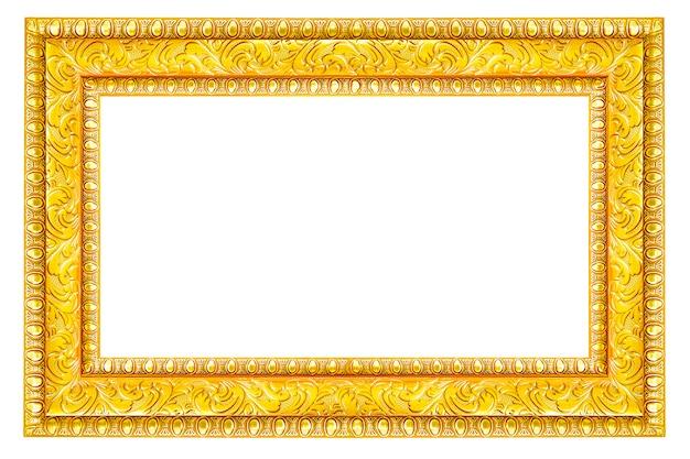 Imagem do vintage do ouro e frame da foto isolado no fundo branco.