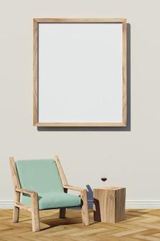 Imagem em branco e cadeira de madeira com mesa de madeira crua