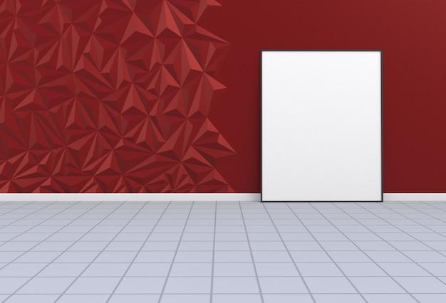 Imagem em branco em uma sala vermelha, renderização em 3d