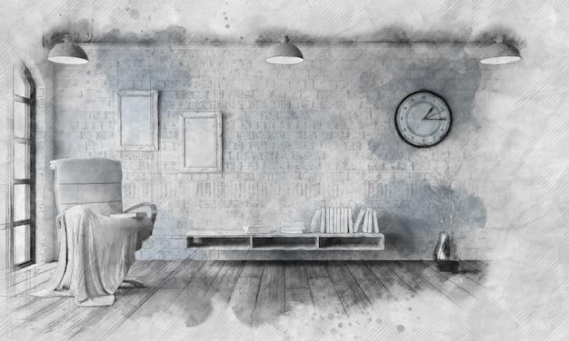 Imagem esboçada de uma cadeira em um apartamento moderno