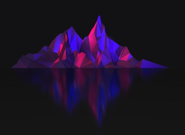Imagem escura de baixo poli de altas montanhas em ilustração 3d com iluminação ultravioleta