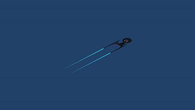 Imagem imaginária de ciência de uma nave no espaço profundo e no fundo azul.