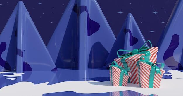 Imagem inspiradora do ano novo 2021 decorada com árvore de natal. ilustração 3d renderizada em 4k. montanhas nevadas no fundo.