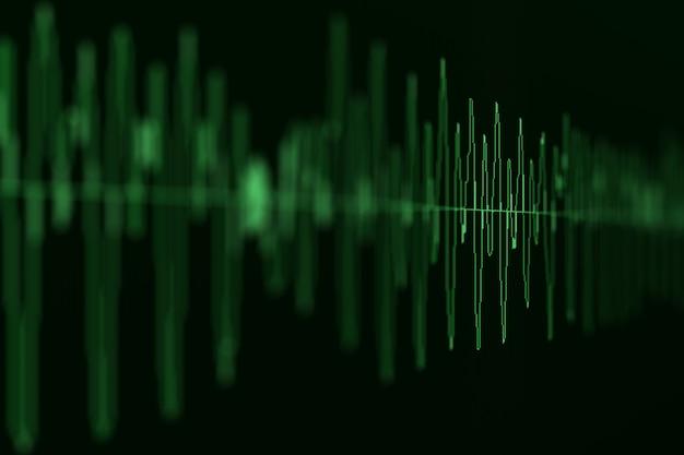 Imagem macro close up do diagrama de ondas sísmicas, do mercado de ações e de áudio sonoro. borrão, dof.