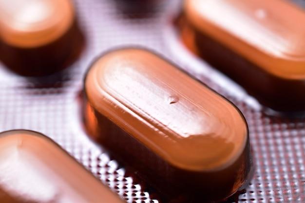 Imagem macro de embalagem de medicamentos farmacêuticos