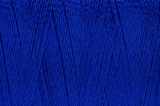 Imagem macro de textura de fio azul cor de fundo