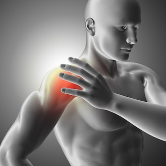 Imagem médica 3d com figura masculina segurando o ombro em dor
