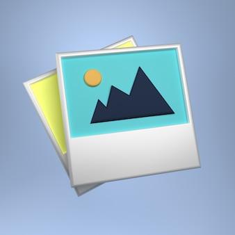 Imagem ou galeria de fotos ícone símbolo estilo mínimo ilustração 3d
