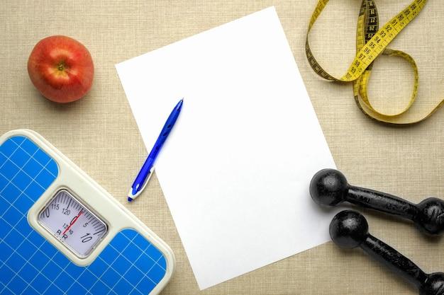 Imagem plana do plano para perda de peso e ida à academia.