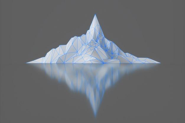 Imagem poligonal de picos de montanhas com uma ilustração 3d retroiluminada brilhante