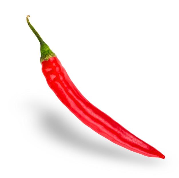 Imagem realista de cápsula de pimenta vermelha quente natural com sombra para produtos culinários