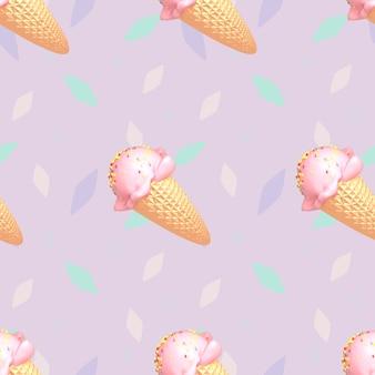 Imagem renderizada 3d de padrão de sorvete sem emenda