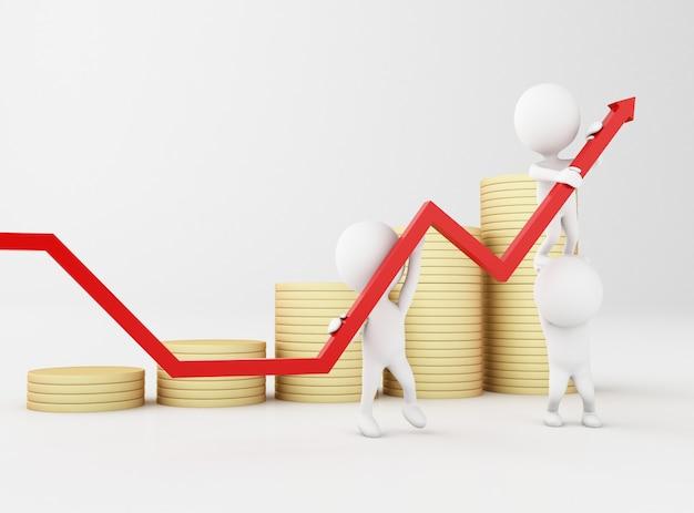 Imagem renderizada 3d. pessoas brancas com seta de progresso de crescimento e moedas de ouro.